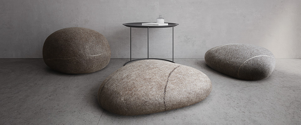 Felted Wool Stone Pillows U0026 Poufs.